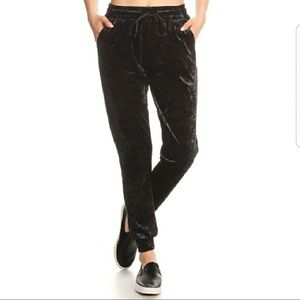 Crushed Velvet / Velour Black Jogger Pants